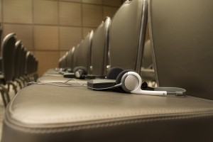 Simultaneous interpretation equipment includes headsets for delegates.
